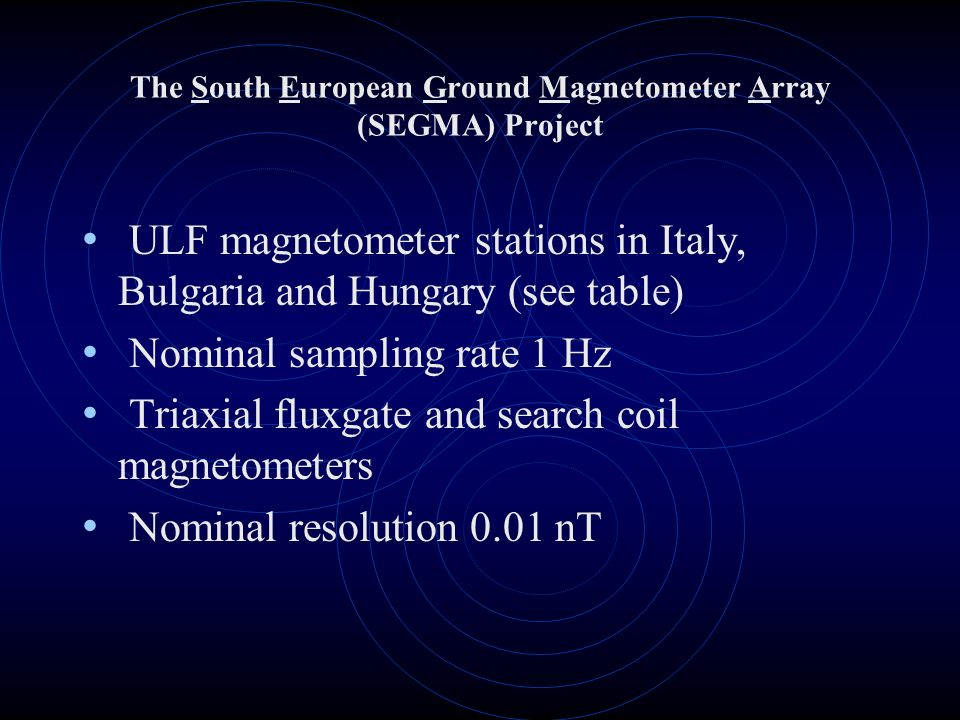 The South European Ground Magnetometer Array (SEGMA) Project