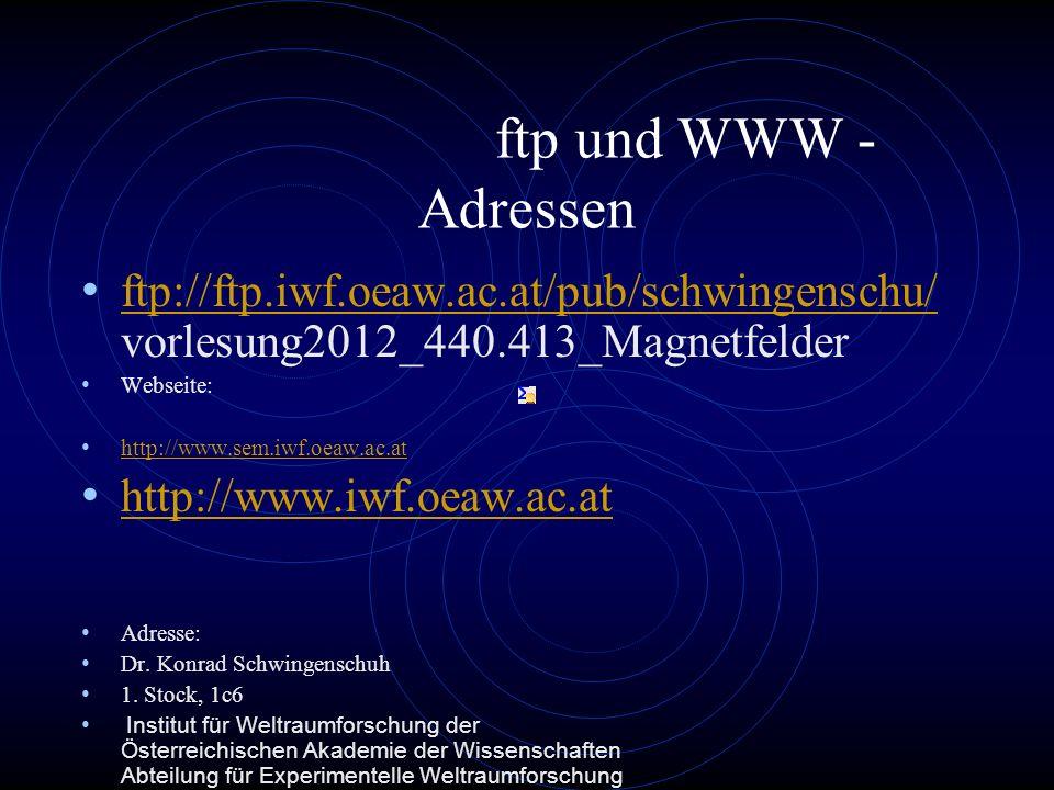 ftp und WWW -Adressen ftp://ftp.iwf.oeaw.ac.at/pub/schwingenschu/vorlesung2012_440.413_Magnetfelder.