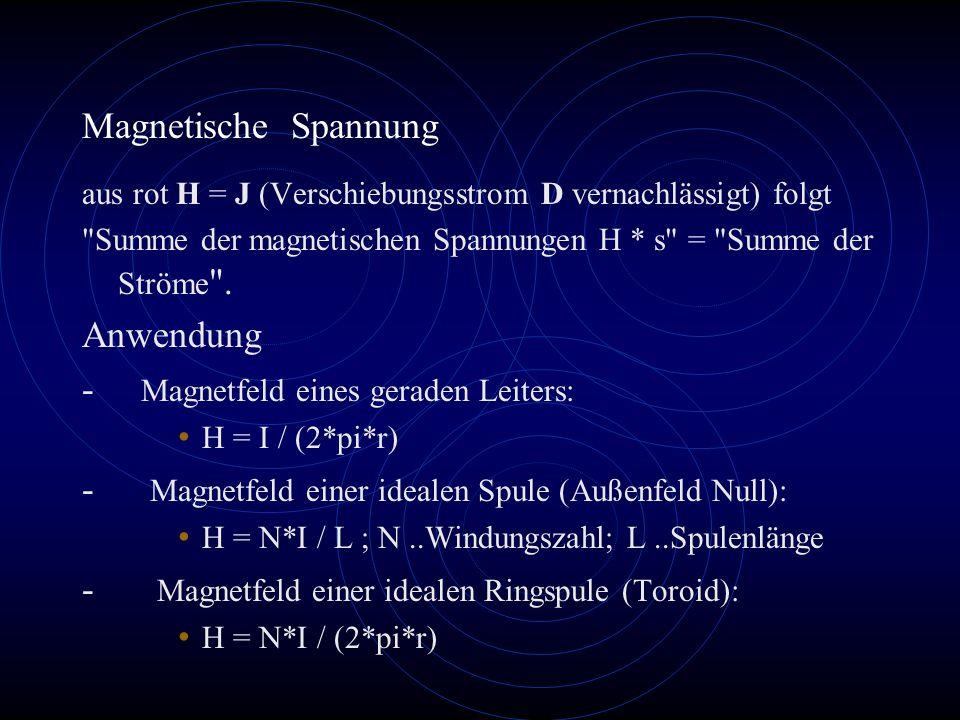 - Magnetfeld eines geraden Leiters: