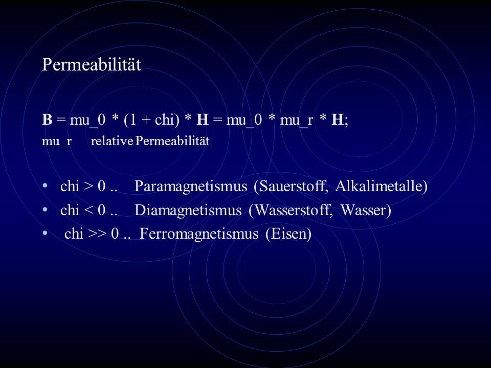 Permeabilität B = mu_0 * (1 + chi) * H = mu_0 * mu_r * H;