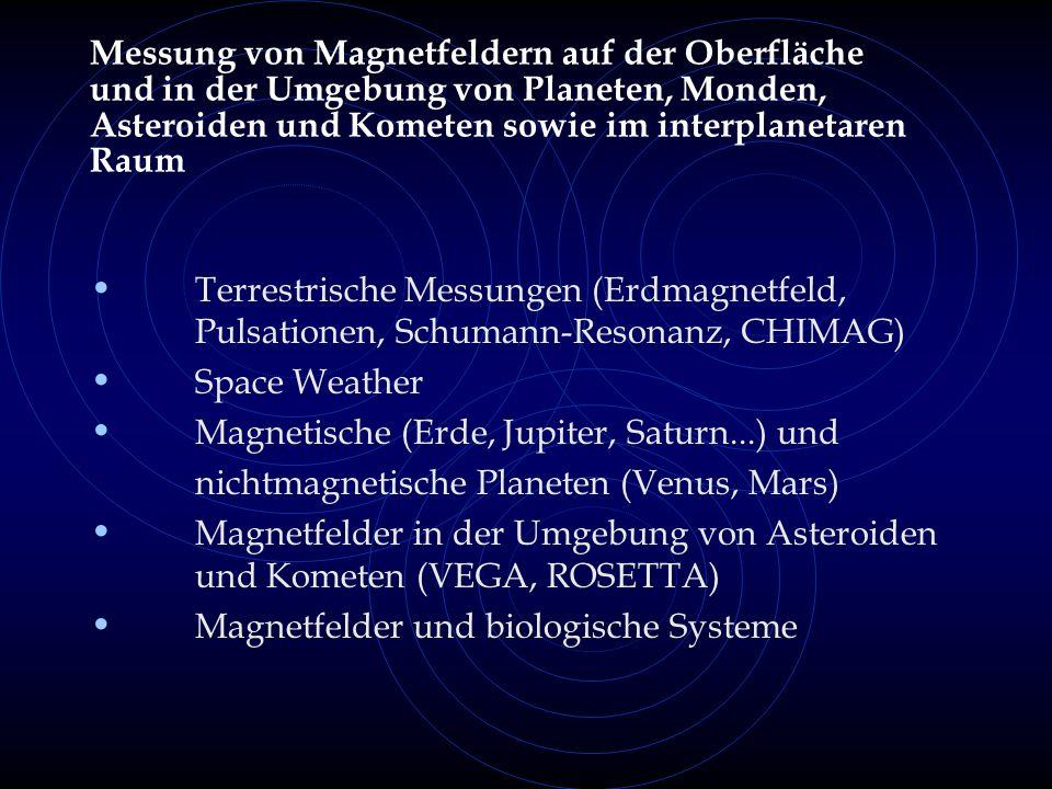 Messung von Magnetfeldern auf der Oberfläche und in der Umgebung von Planeten, Monden, Asteroiden und Kometen sowie im interplanetaren Raum