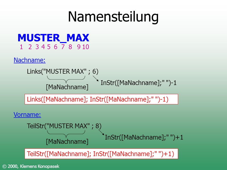 Namensteilung MUSTER_MAX 1 2 3 4 5 6 7 8 9 10 Nachname: