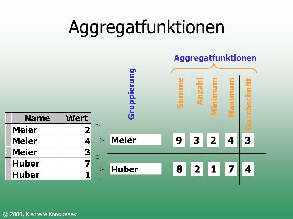 Aggregatfunktionen 9 8 3 2 2 1 4 7 3 4 Aggregatfunktionen Summe Anzahl