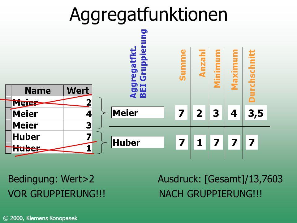 Aggregatfunktionen 7 2 1 3 7 4 7 3,5 7 Bedingung: Wert>2