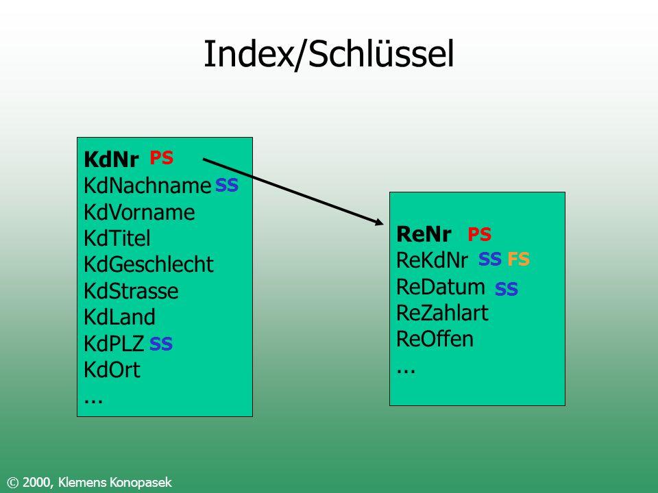 Index/Schlüssel KdNr KdNachname KdVorname KdTitel KdGeschlecht