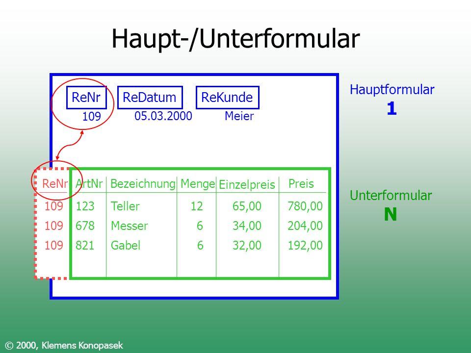Haupt-/Unterformular