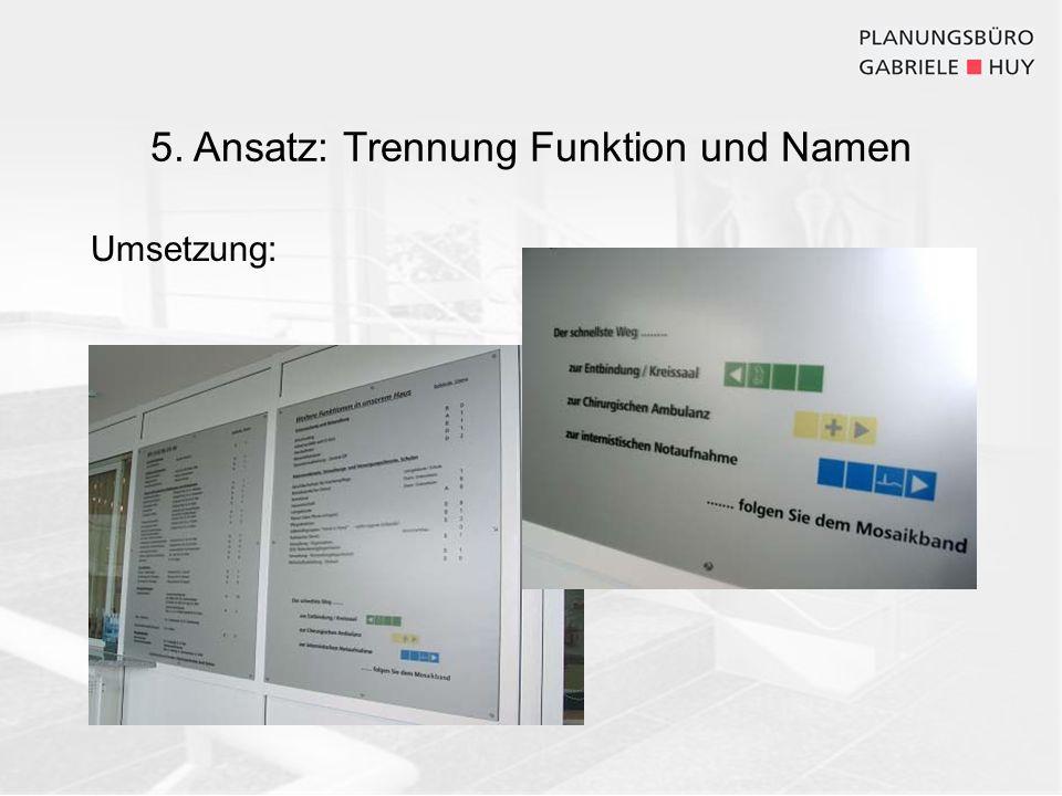 5. Ansatz: Trennung Funktion und Namen