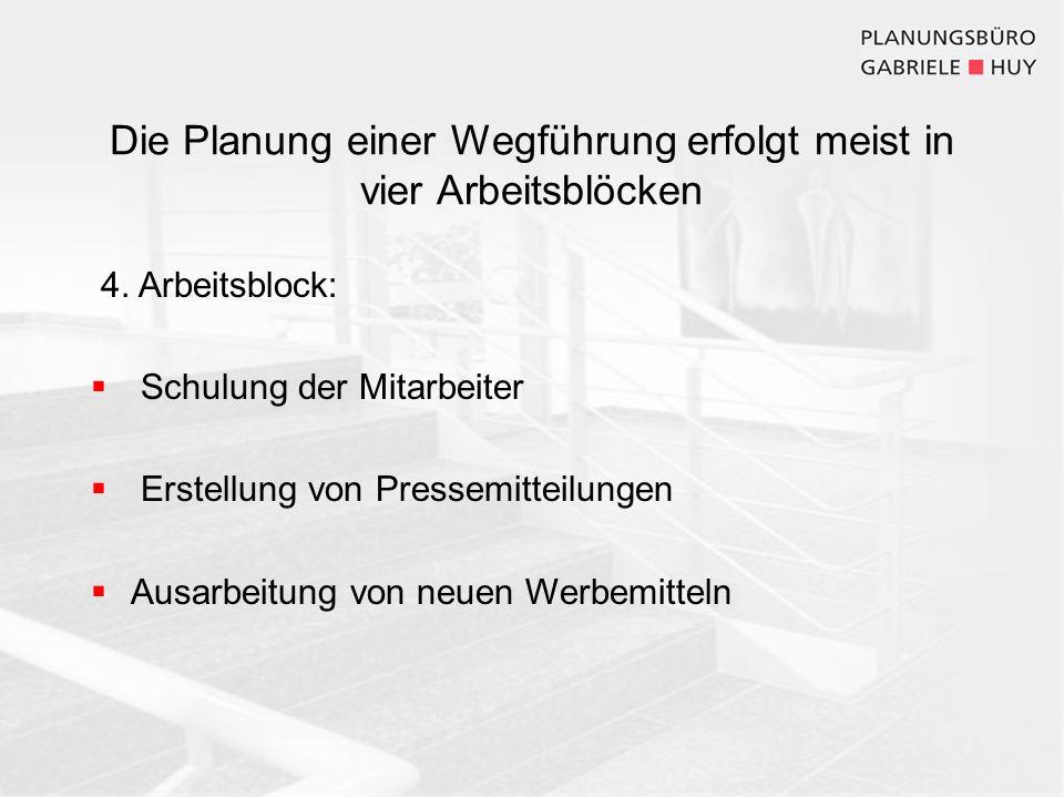 Die Planung einer Wegführung erfolgt meist in vier Arbeitsblöcken