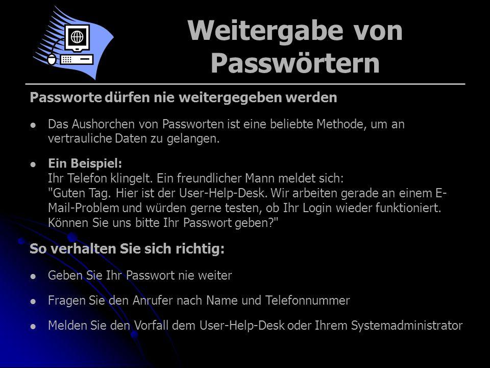Weitergabe von Passwörtern