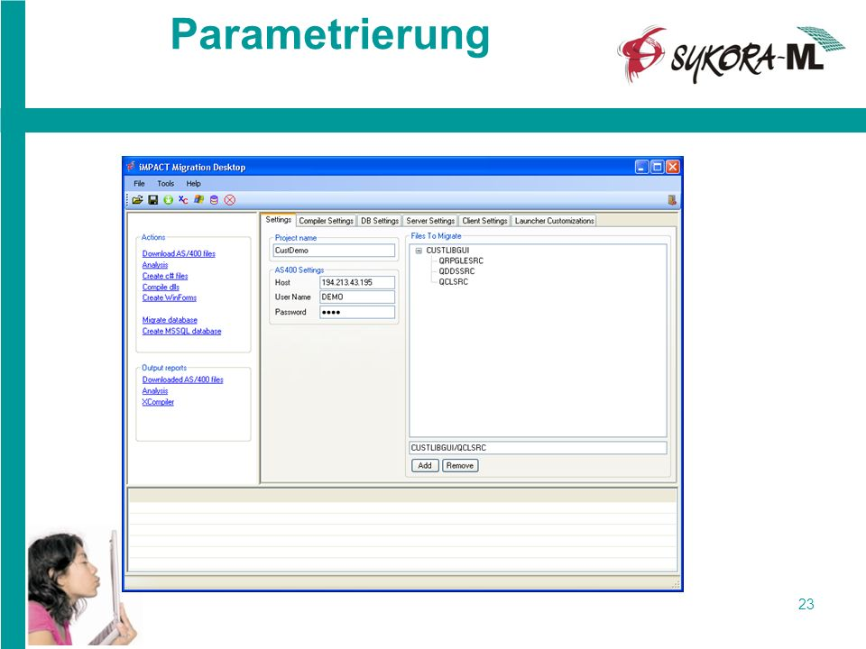 Parametrierung user-name: demo Password: orpg