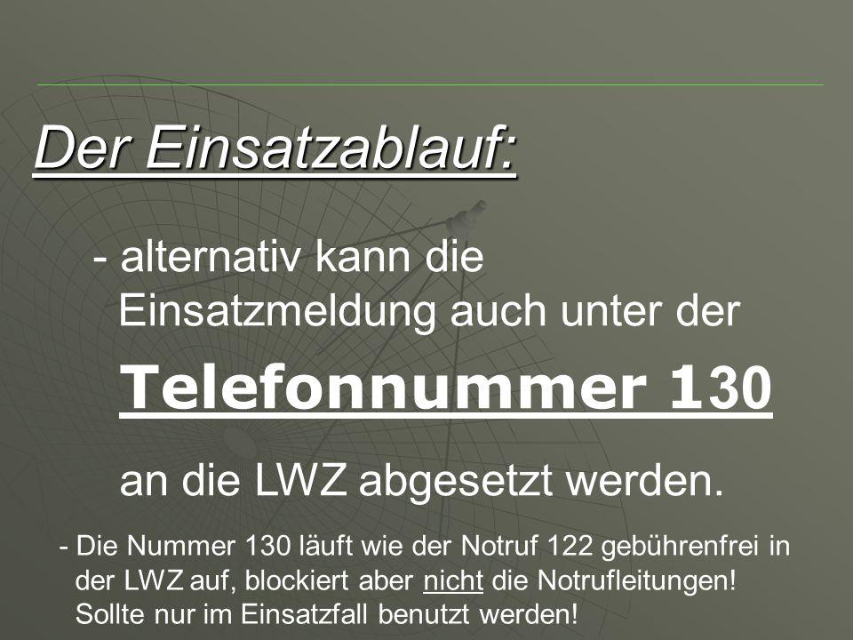 Der Einsatzablauf: alternativ kann die Einsatzmeldung auch unter der Telefonnummer 130 an die LWZ abgesetzt werden.