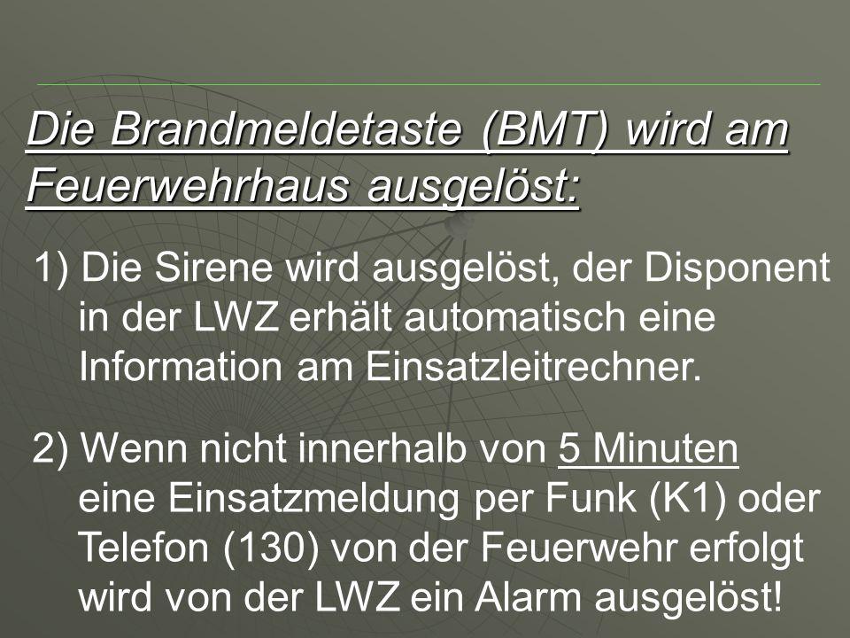 Die Brandmeldetaste (BMT) wird am Feuerwehrhaus ausgelöst: