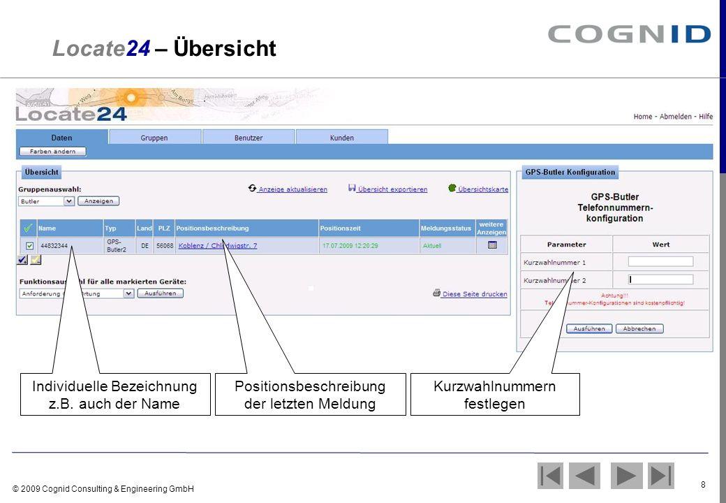 Locate24 – Übersicht Individuelle Bezeichnung z.B. auch der Name