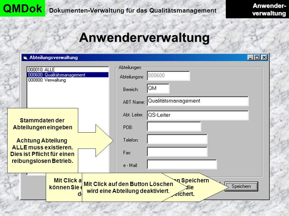 Anwenderverwaltung QMDok Anwender-verwaltung