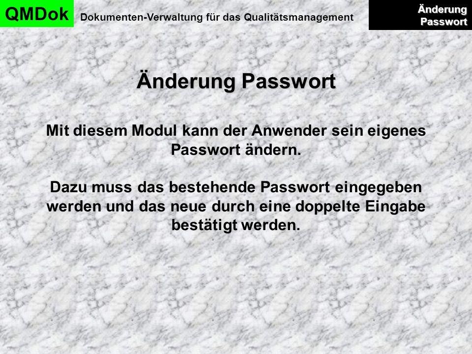 Änderung Passwort QMDok