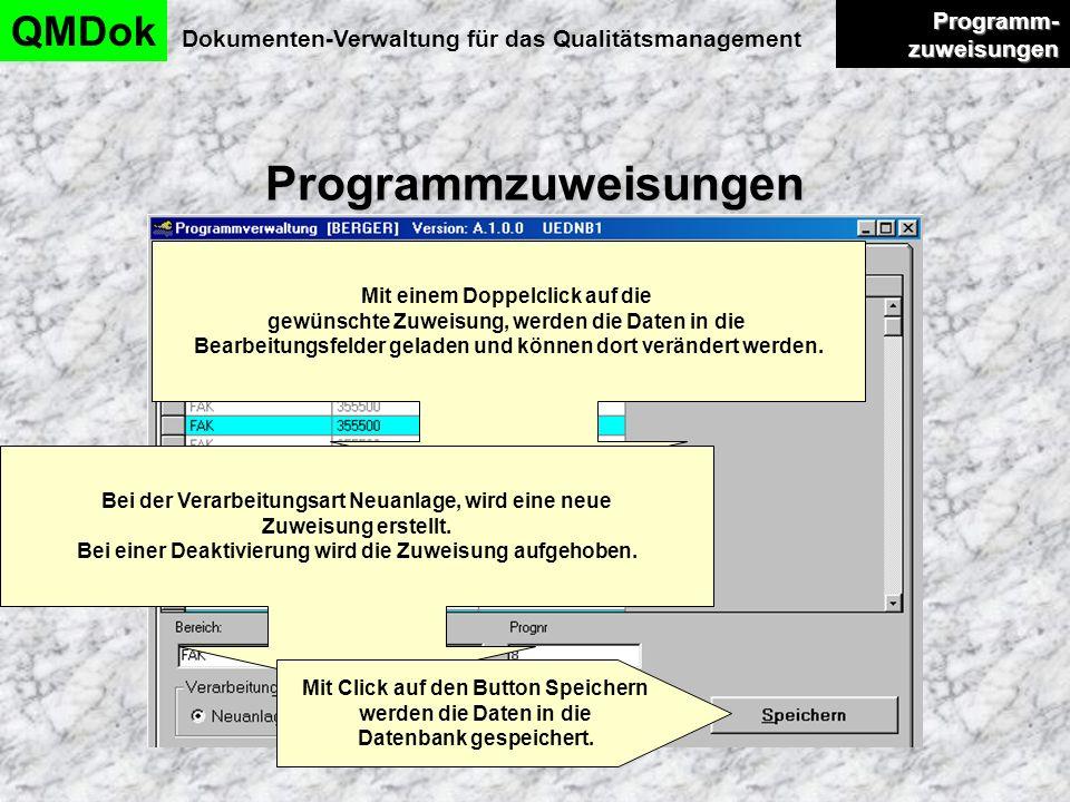 Programmzuweisungen QMDok Programm-zuweisungen
