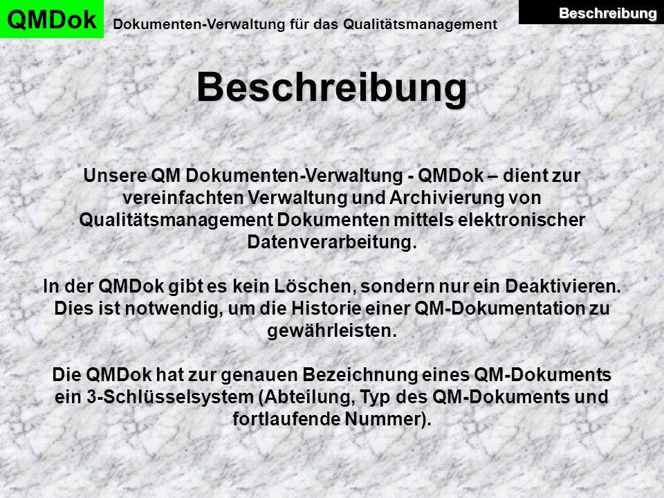 QMDok Beschreibung. Dokumenten-Verwaltung für das Qualitätsmanagement. Beschreibung.