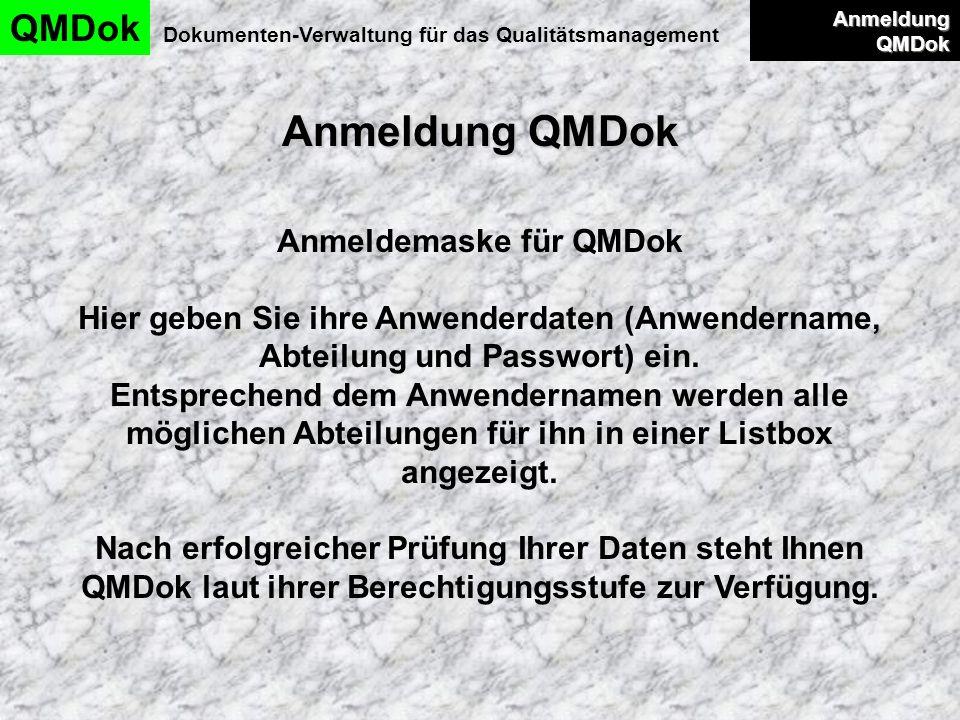 Anmeldung QMDok QMDok Anmeldemaske für QMDok