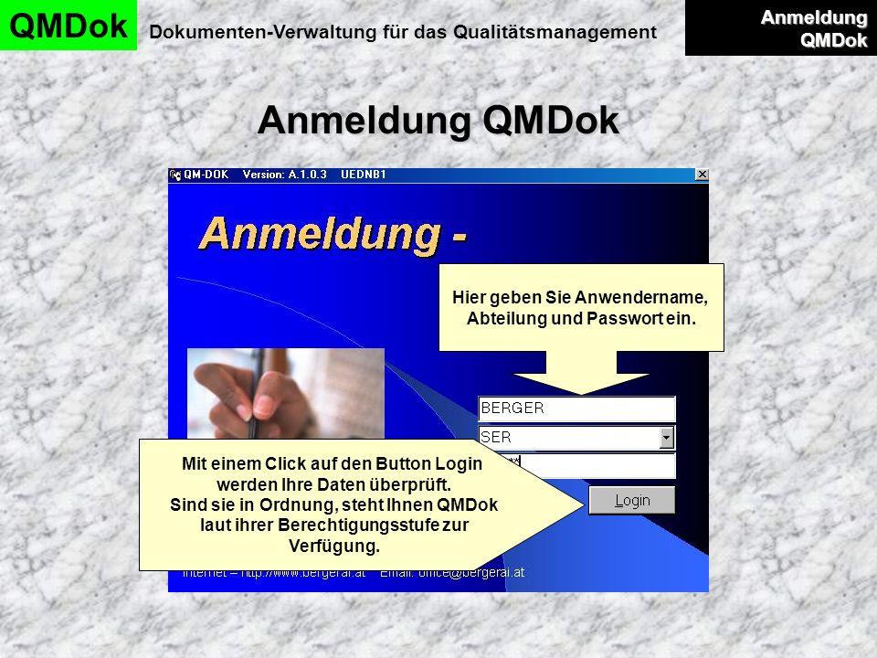 Anmeldung QMDok QMDok Anmeldung QMDok