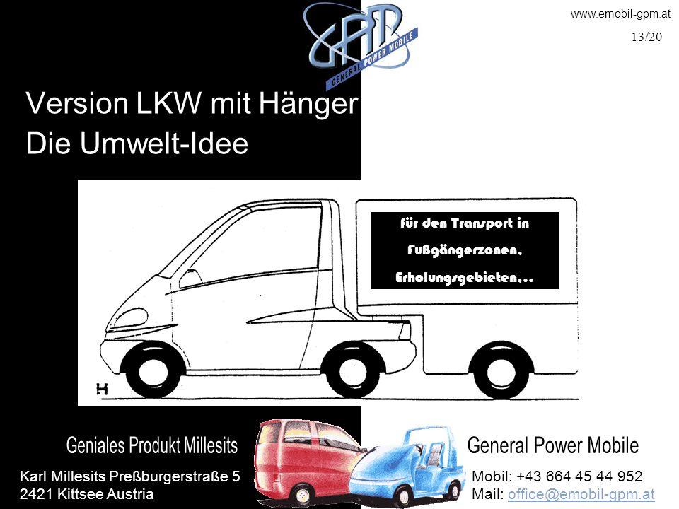 Version LKW mit Hänger Die Umwelt-Idee für den Transport in