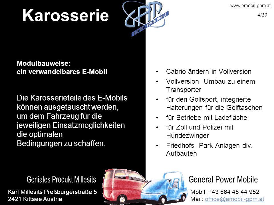 Karosserie Modulbauweise: ein verwandelbares E-Mobil. Cabrio ändern in Vollversion. Vollversion- Umbau zu einem Transporter.