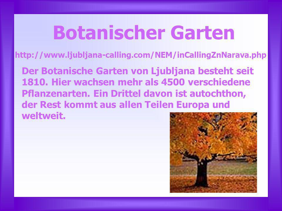 Botanischer Garten http://www.ljubljana-calling.com/NEM/inCallingZnNarava.php.