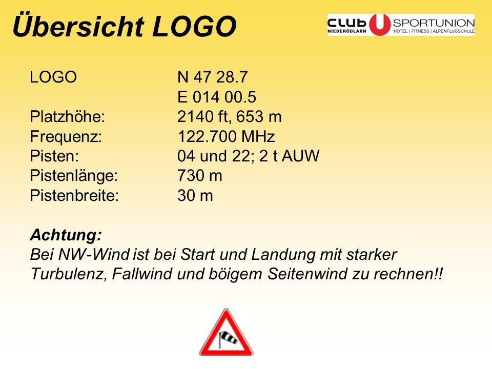 Übersicht LOGO LOGO N 47 28.7 E 014 00.5 Platzhöhe: 2140 ft, 653 m