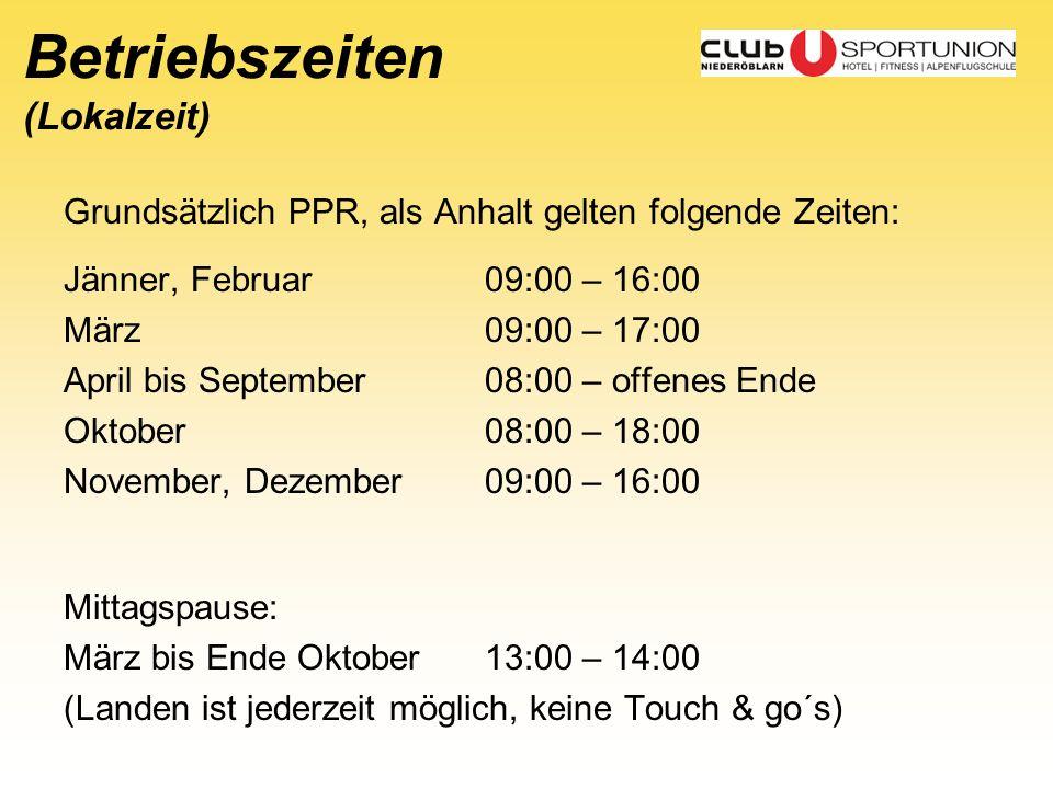 Betriebszeiten (Lokalzeit)