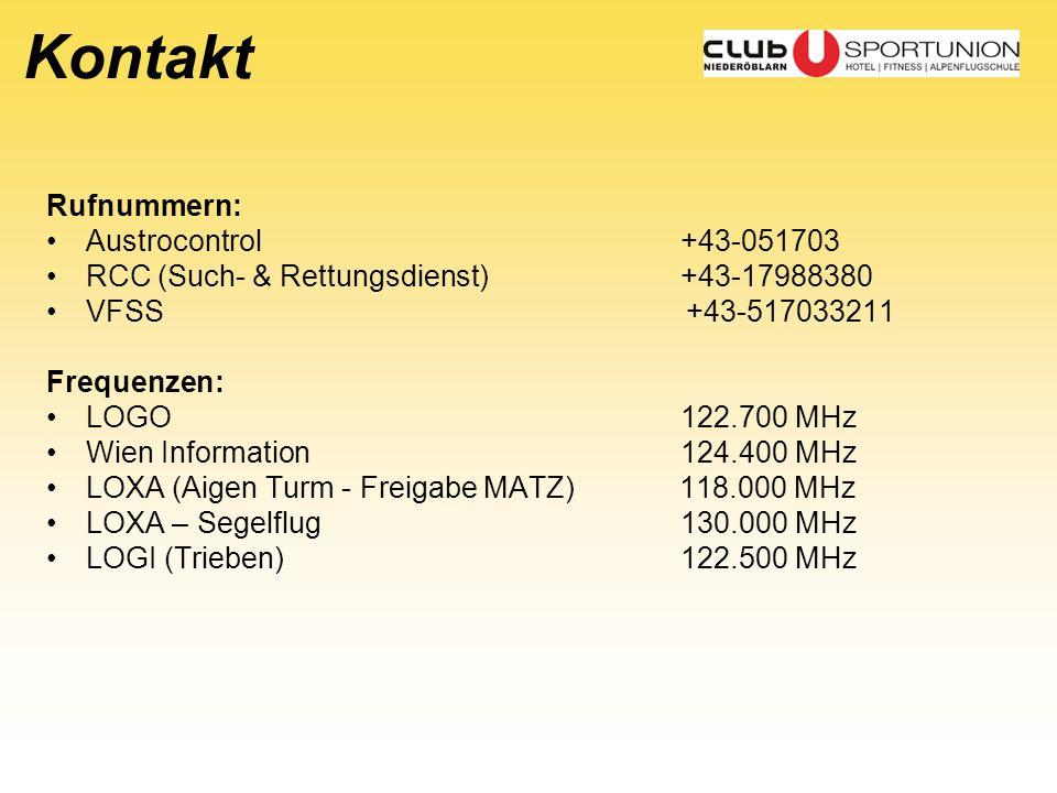 Kontakt Rufnummern: Austrocontrol +43-051703