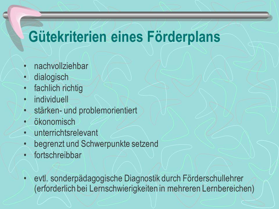 Gütekriterien eines Förderplans