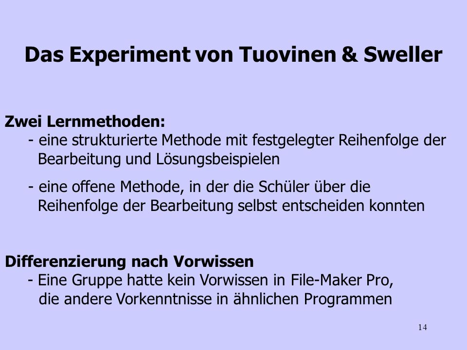 Das Experiment von Tuovinen & Sweller