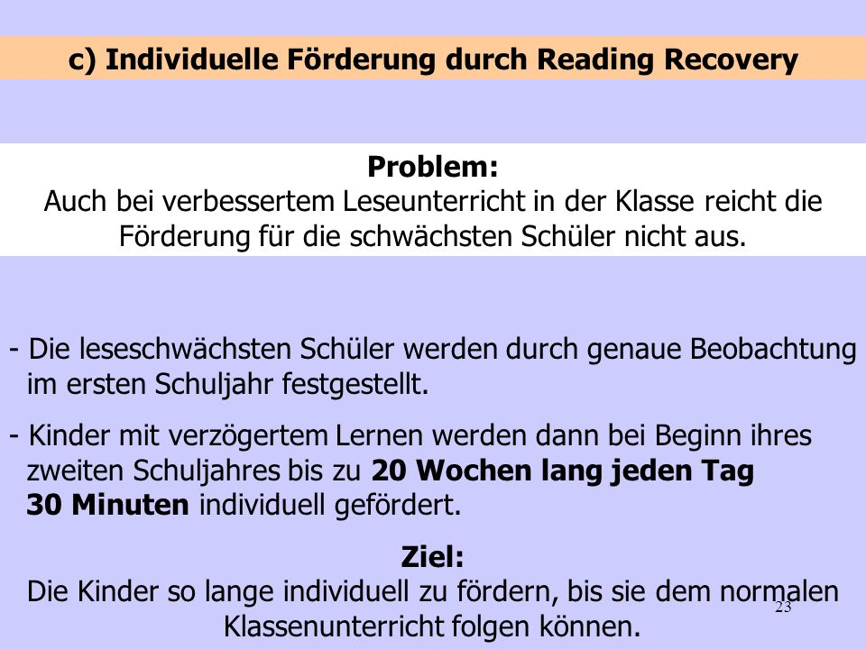 c) Individuelle Förderung durch Reading Recovery
