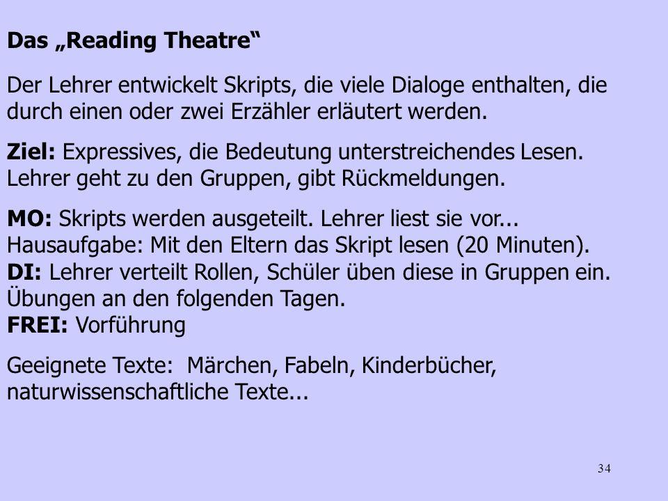 """Das """"Reading Theatre Der Lehrer entwickelt Skripts, die viele Dialoge enthalten, die durch einen oder zwei Erzähler erläutert werden."""