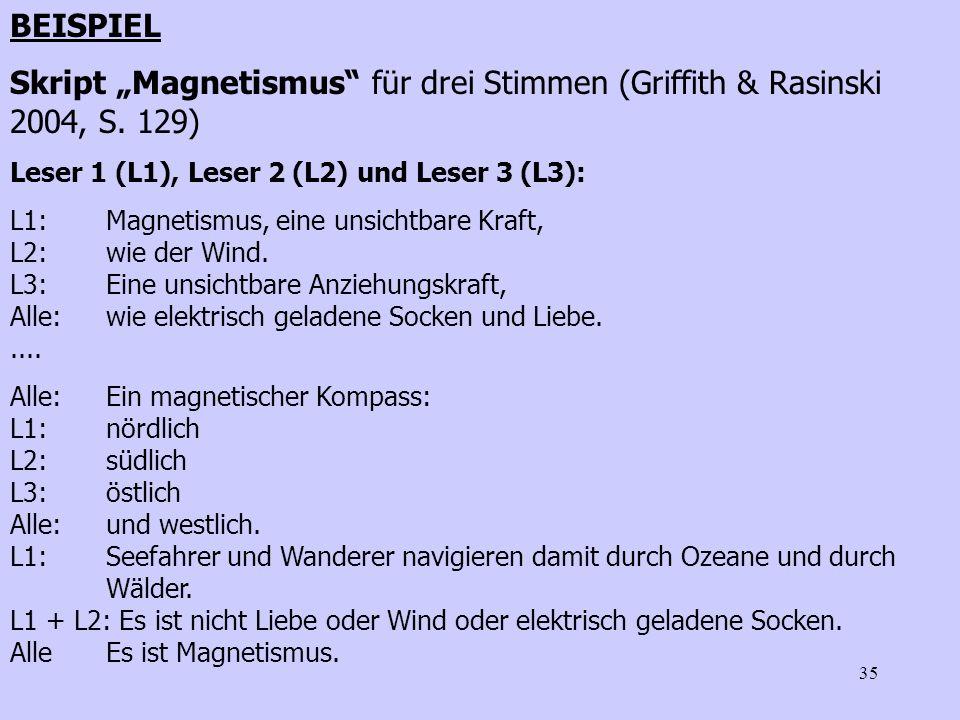 """BEISPIEL Skript """"Magnetismus für drei Stimmen (Griffith & Rasinski 2004, S. 129) Leser 1 (L1), Leser 2 (L2) und Leser 3 (L3):"""