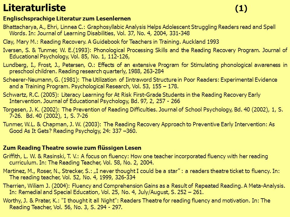 Literaturliste (1) Englischsprachige Literatur zum Lesenlernen