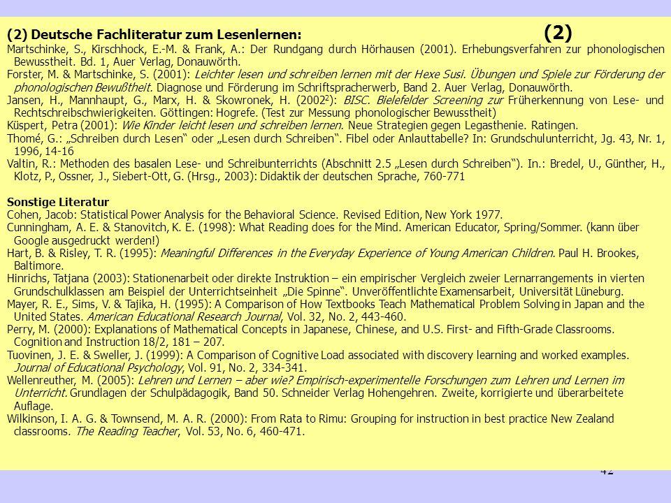 (2) Deutsche Fachliteratur zum Lesenlernen: (2)