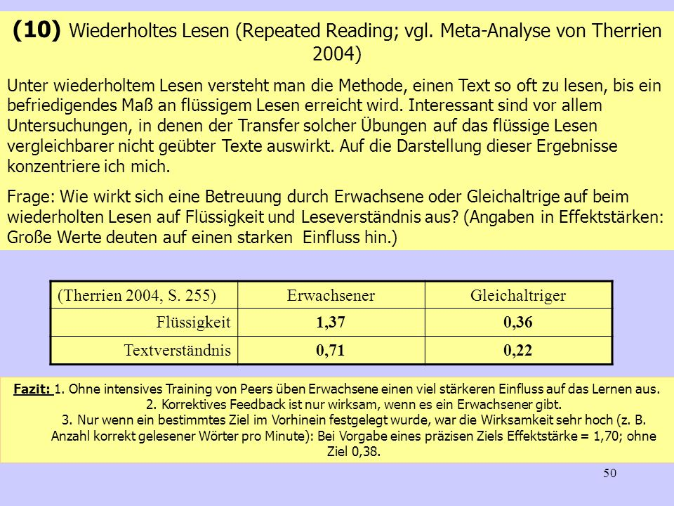 (10) Wiederholtes Lesen (Repeated Reading; vgl