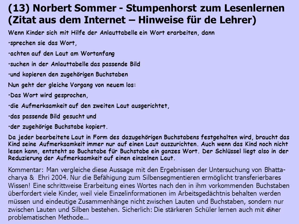 (13) Norbert Sommer - Stumpenhorst zum Lesenlernen (Zitat aus dem Internet – Hinweise für de Lehrer)