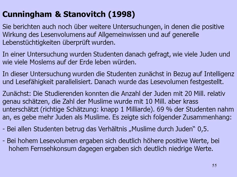 Cunningham & Stanovitch (1998)