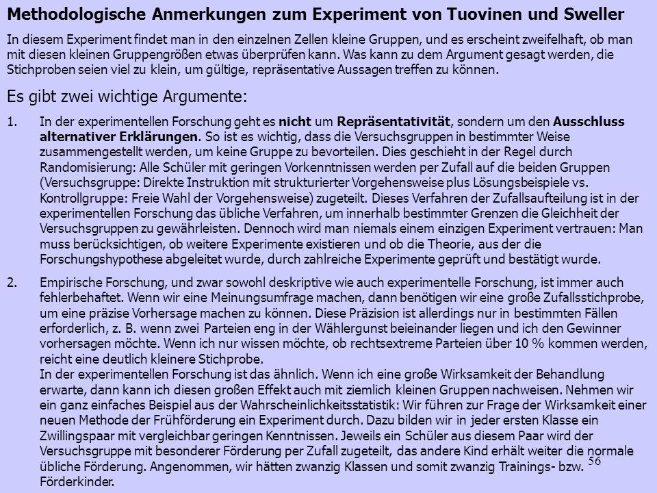 Methodologische Anmerkungen zum Experiment von Tuovinen und Sweller