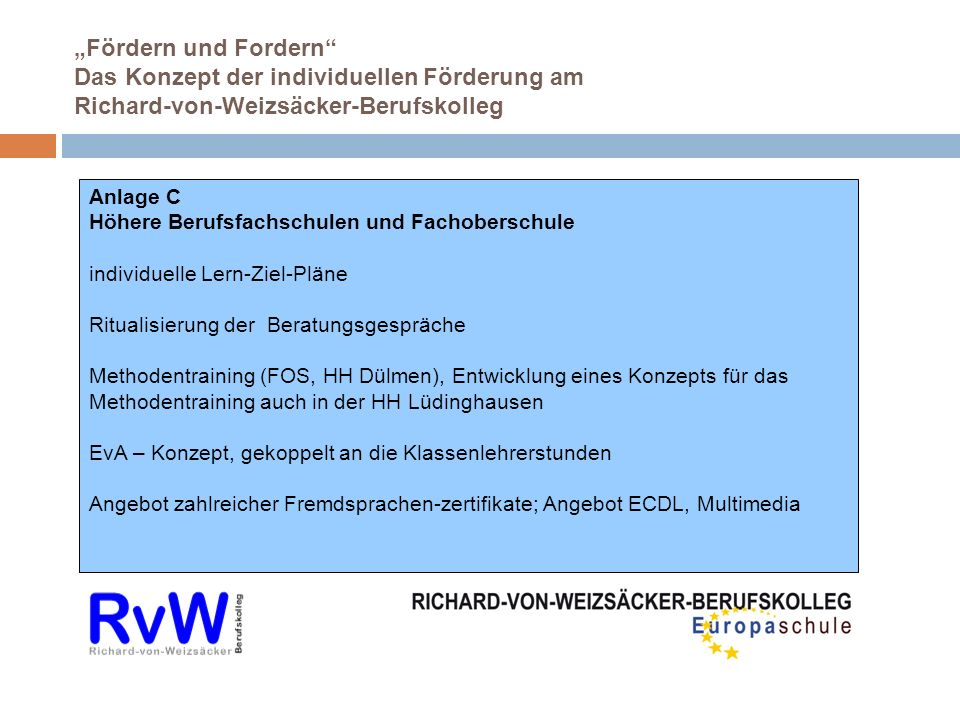 """""""Fördern und Fordern Das Konzept der individuellen Förderung am Richard-von-Weizsäcker-Berufskolleg"""