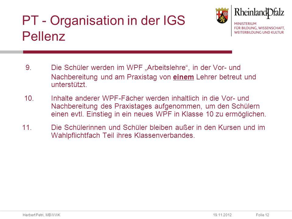 PT - Organisation in der IGS Pellenz