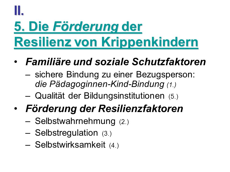 II. 5. Die Förderung der Resilienz von Krippenkindern