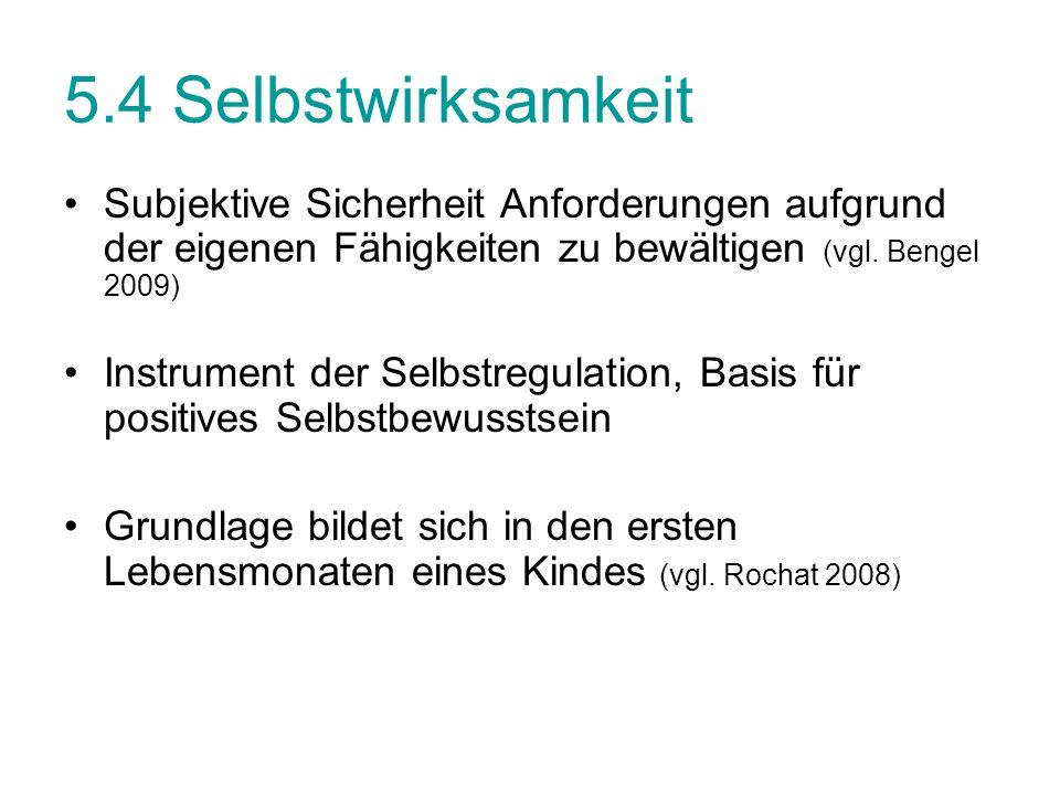 5.4 Selbstwirksamkeit Subjektive Sicherheit Anforderungen aufgrund der eigenen Fähigkeiten zu bewältigen (vgl. Bengel 2009)