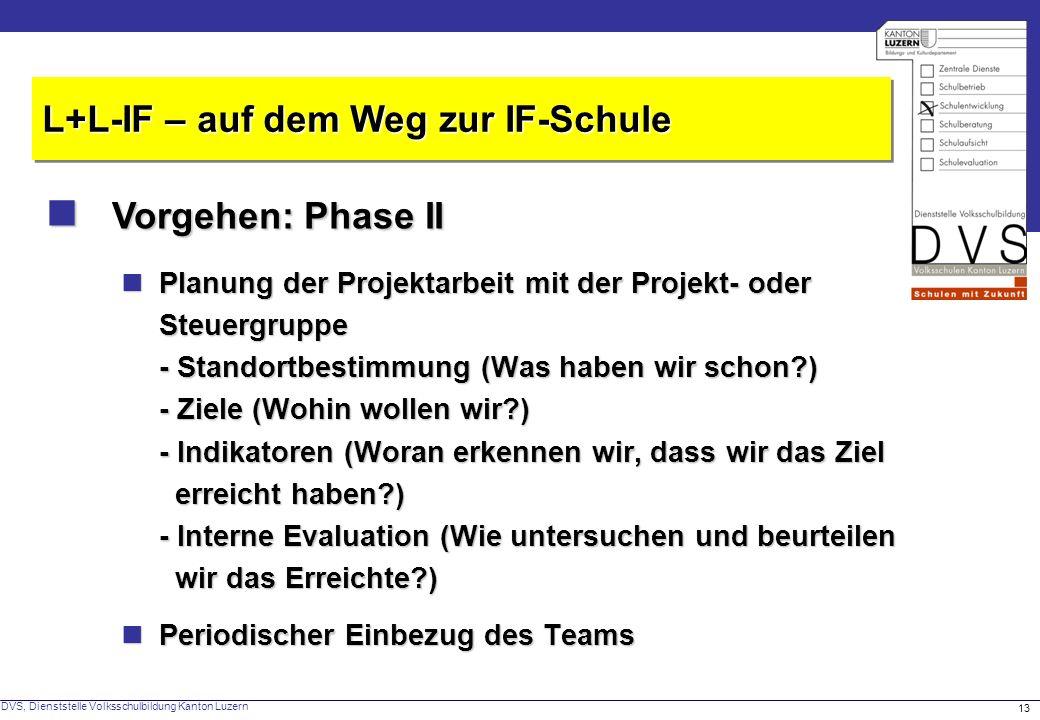  Vorgehen: Phase II L+L-IF – auf dem Weg zur IF-Schule