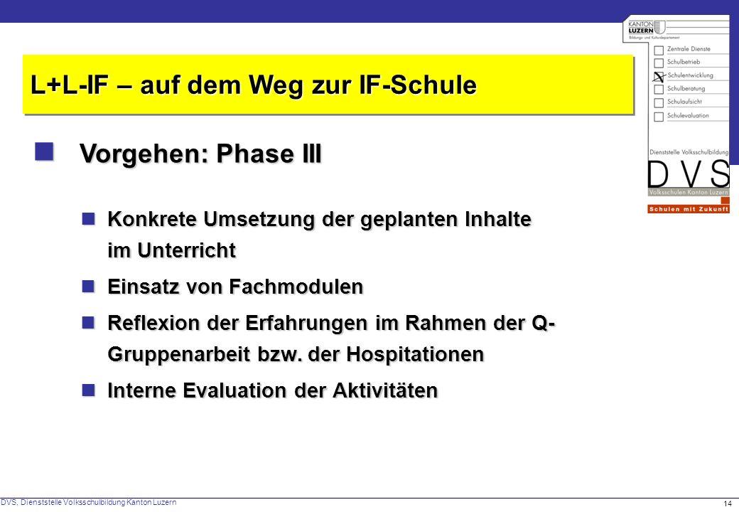  Vorgehen: Phase III L+L-IF – auf dem Weg zur IF-Schule