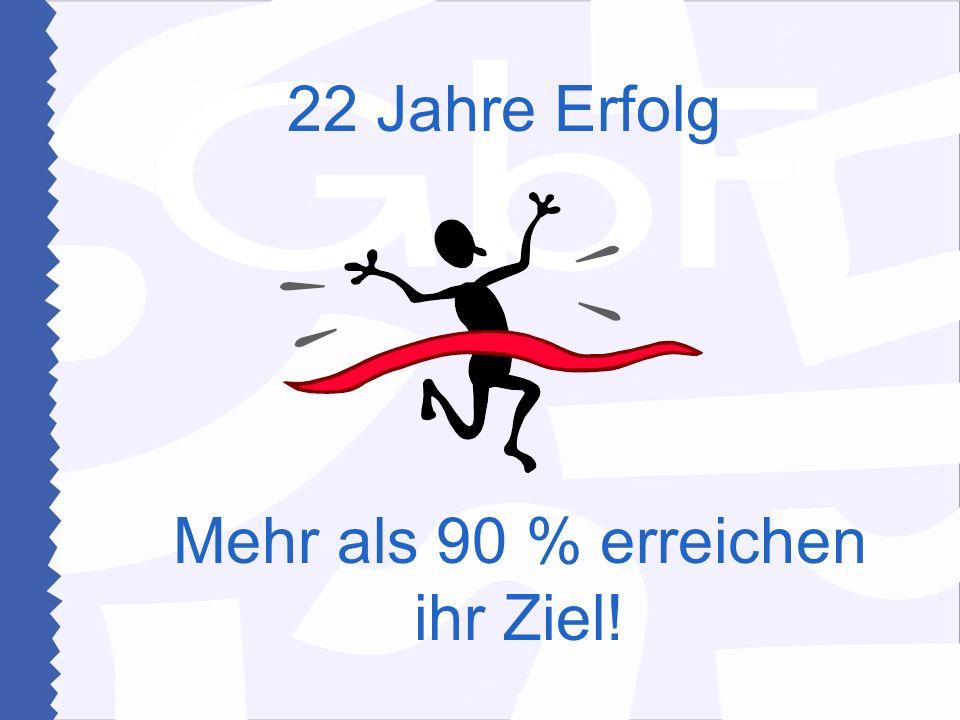 Mehr als 90 % erreichen ihr Ziel!