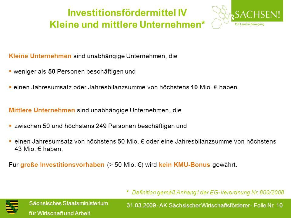 Investitionsfördermittel IV Kleine und mittlere Unternehmen*