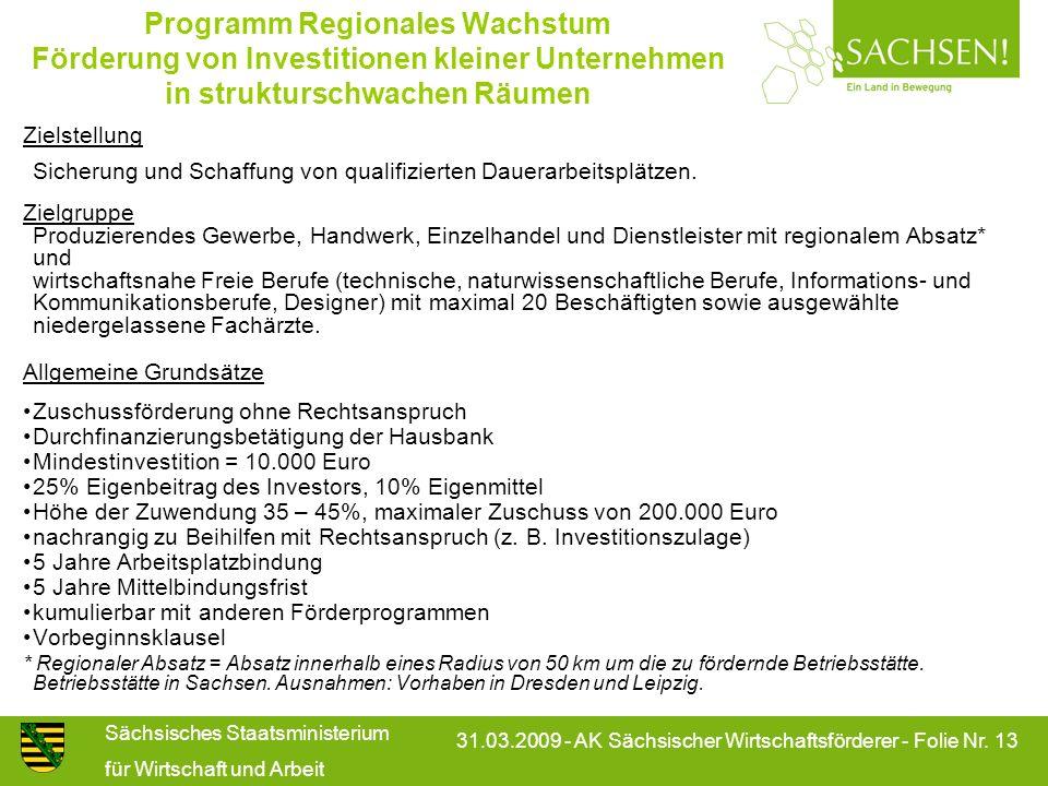 Programm Regionales Wachstum Förderung von Investitionen kleiner Unternehmen in strukturschwachen Räumen