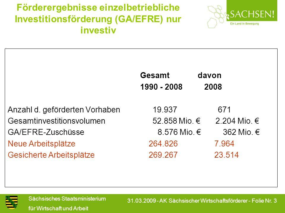 Förderergebnisse einzelbetriebliche Investitionsförderung (GA/EFRE) nur investiv